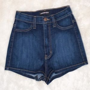 High Waist Jean Shorts, Dark Blue, S